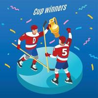 Hockey Cup Isometric Background Vector Illustration
