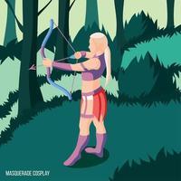 Ilustración de vector de fondo isométrico de cosplay