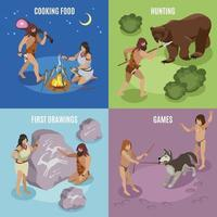 Stone Age Concept Icons Set Vector Illustration