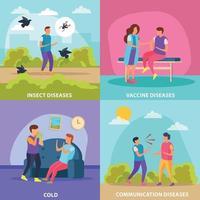 Diseases Transmission Ways 2x2 Design Concept Vector Illustration