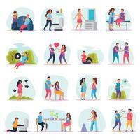 Diseases Transmission Ways Flat Icons Vector Illustration