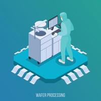 Semicondoctor Production Isometric Composition Vector Illustration