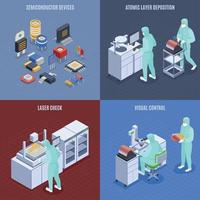 Semicondoctor Production Concept Icons Set Vector Illustration