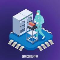 Semicondoctor Isometric Concept Vector Illustration
