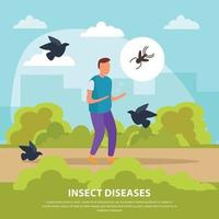 Insect Diseases Flat Background Vector Illustration