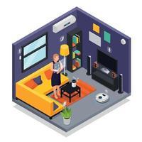 Smart Home Isometric Interior Vector Illustration
