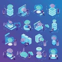 Ilustración de vector de iconos isométricos de inteligencia artificial