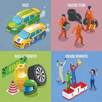 Racing Sports Concept Icons Set Vector Illustration