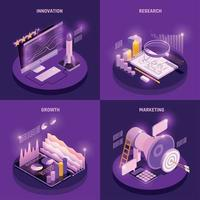Business Strategy Concept Icons Set Vector Illustration