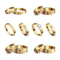 anillos de boda realista conjunto ilustración vectorial vector