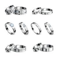 anillos de joyería conjunto realista ilustración vectorial vector