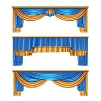 cortinas drapeadas conjunto realista ilustración vectorial vector