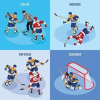 Hockey Isometric Concept Vector Illustration