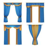 cortinas cortinas conjunto realista ilustración vectorial vector
