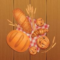 Realistic Bread Bakery Composition Vector Illustration