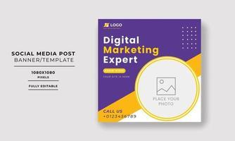 Editable Post Template Social Media Banners for Digital Marketing. vector