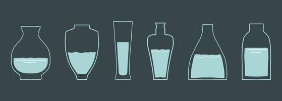 Various glass vases. Various shapes. Hand drawn vector set