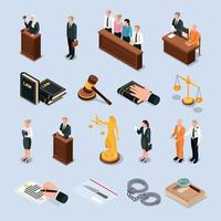 Law Justice Isometric Icons Vector Illustration