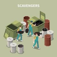 Isometric 3d Garbage Recycling Composition Vector Illustration