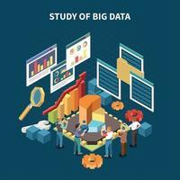 Isometric Big Data Analytics Composition Vector Illustration