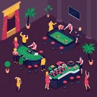 Casino Isometric Background Vector Illustration