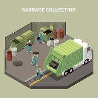 Isometric Garbage Recycling Composition Vector Illustration