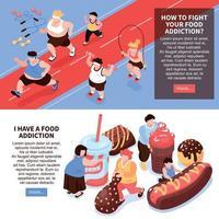 Food Addiction Horizontal Banners Vector Illustration