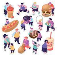 Gluttony Isometric Icons Set Vector Illustration