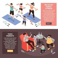Family Activities Horizontal Banners Vector Illustration