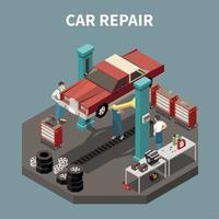 Car Service Isometric Concept Vector Illustration