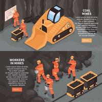 Miners Horizontal Banners Set Vector Illustration