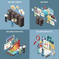 Big Data Analytics Isometric Icon Set Vector Illustration