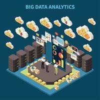 Big Data Analytics Composition Vector Illustration