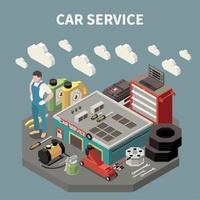 Colored Isometric Car Service Composition Vector Illustration