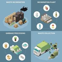 Garbage Recycling Isometric Icon Set Vector Illustration