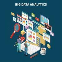 Colored Big Data Analytics Isometric Composition Vector Illustration