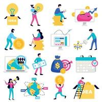 Crowdfunding Flat Icons Set Vector Illustration