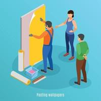 Pasting Wallpaper Isometric Background Vector Illustration
