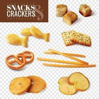 Crackers And Snacks Transparent Set Vector Illustration