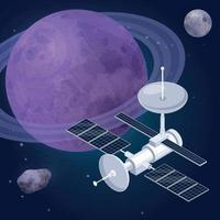 Space Orbit Satellite Composition Vector Illustration