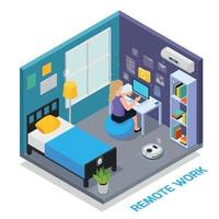 Remote Work Isometric Composition Vector Illustration
