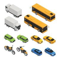 Isometric Colored City Transport Set Vector Illustration