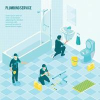 Plumbing Service Team Illustration Vector Illustration