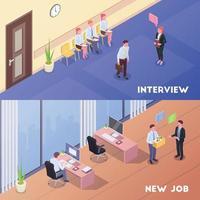 Ilustración de vector de composiciones de reclutamiento y trabajo