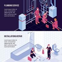 Plumbing Isometric Banners Vector Illustration