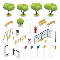 City Map Elements Constructor Isometric Icon Set Vector Illustration