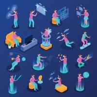 Augmented Reality Isometric Icons Set Vector Illustration
