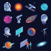 Ilustración de vector de iconos isométricos de astrofísica