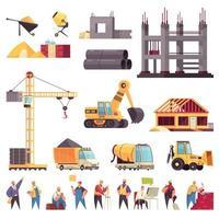 Construction Flat Set Vector Illustration
