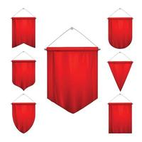 Red Pennants Realistic Set Vector Illustration